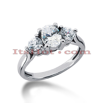 Thin Platinum Diamond Three Stones Engagement Ring 1.25ct Main Image