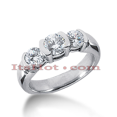 Platinum Diamond Three Stones Engagement Ring 1.30ct Main Image