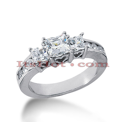 Thin Platinum Diamond Three Stones Engagement Ring 1.41ct Main Image