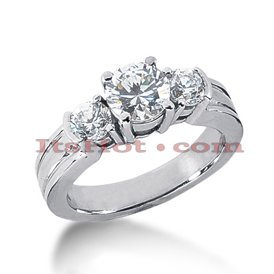 Platinum Diamond Three Stones Engagement Ring 1.60ct