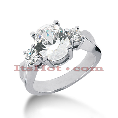 Platinum Diamond Three Stones Engagement Ring 1.75ct Main Image