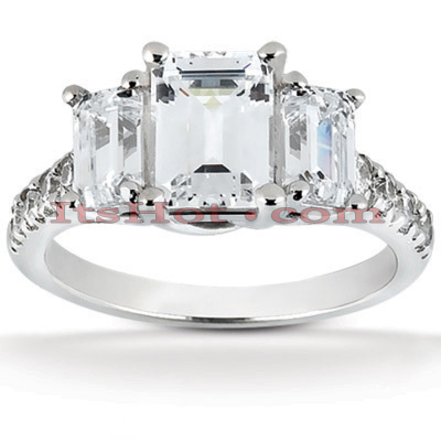 Thin Platinum Diamond Three Stones Engagement Ring 1.91ct Main Image