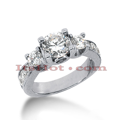 Platinum Diamond Three Stones Engagement Ring 1.98ct Main Image