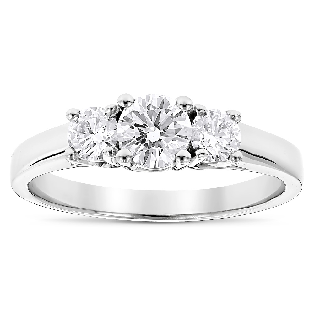 Ultra Thin Platinum Diamond Three Stones Engagement Ring 1ct