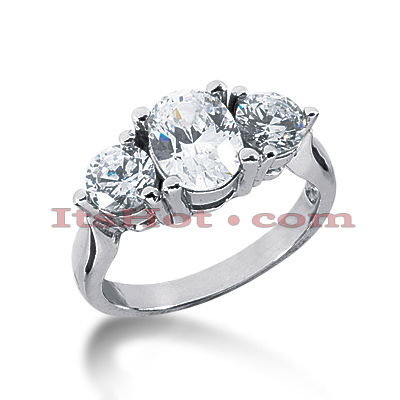 Thin Platinum Diamond Three Stones Engagement Ring 2.25ct Main Image