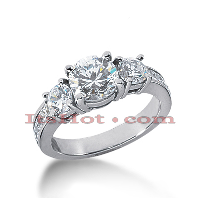 Thin Platinum Diamond Three Stones Engagement Ring 2.35ct
