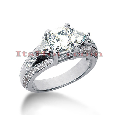 Platinum Diamond Three Stones Engagement Ring 2.45ct Main Image