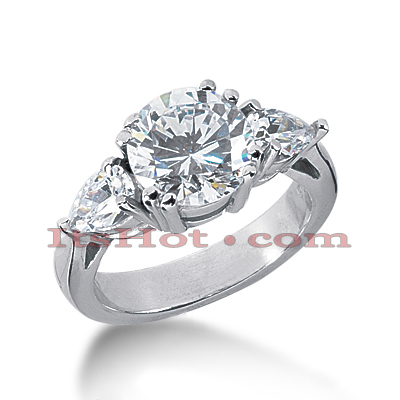 Thin Platinum Diamond Three Stones Engagement Ring 2.75ct Main Image