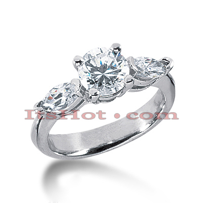 Thin Platinum Diamond Three Stones Engagement Ring 2.76ct