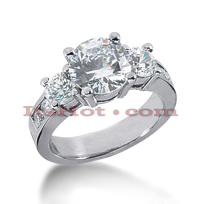 Thin Platinum Diamond Three Stones Engagement Ring 2.94ct