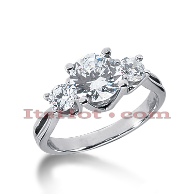 Thin Platinum Diamond Three Stones Engagement Ring 2ct Main Image