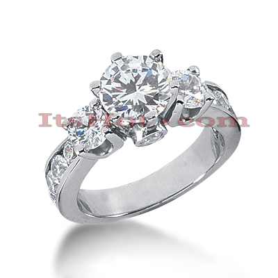 Platinum Diamond Three Stones Engagement Ring 3.04ct Main Image