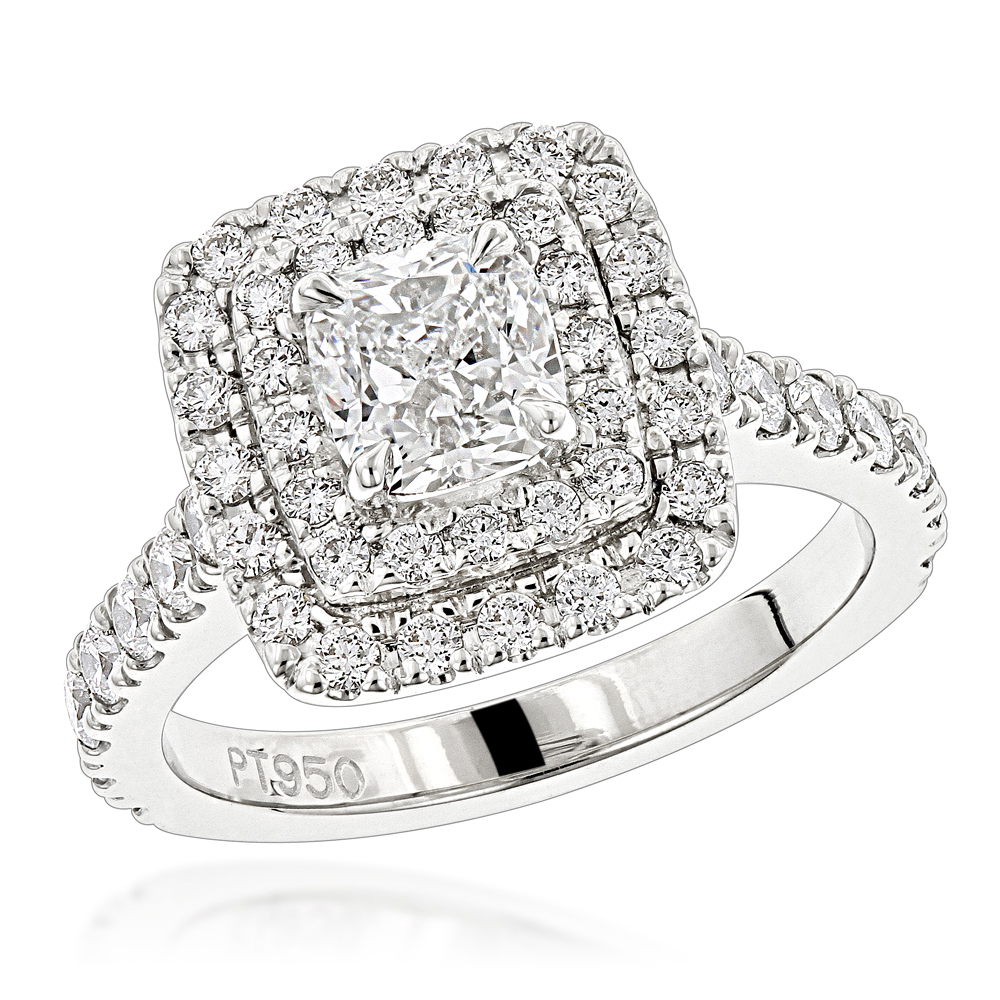 Platinum Double Halo Diamond Engagement Ring Round & Cushion Diamonds 1.9ct Main Image