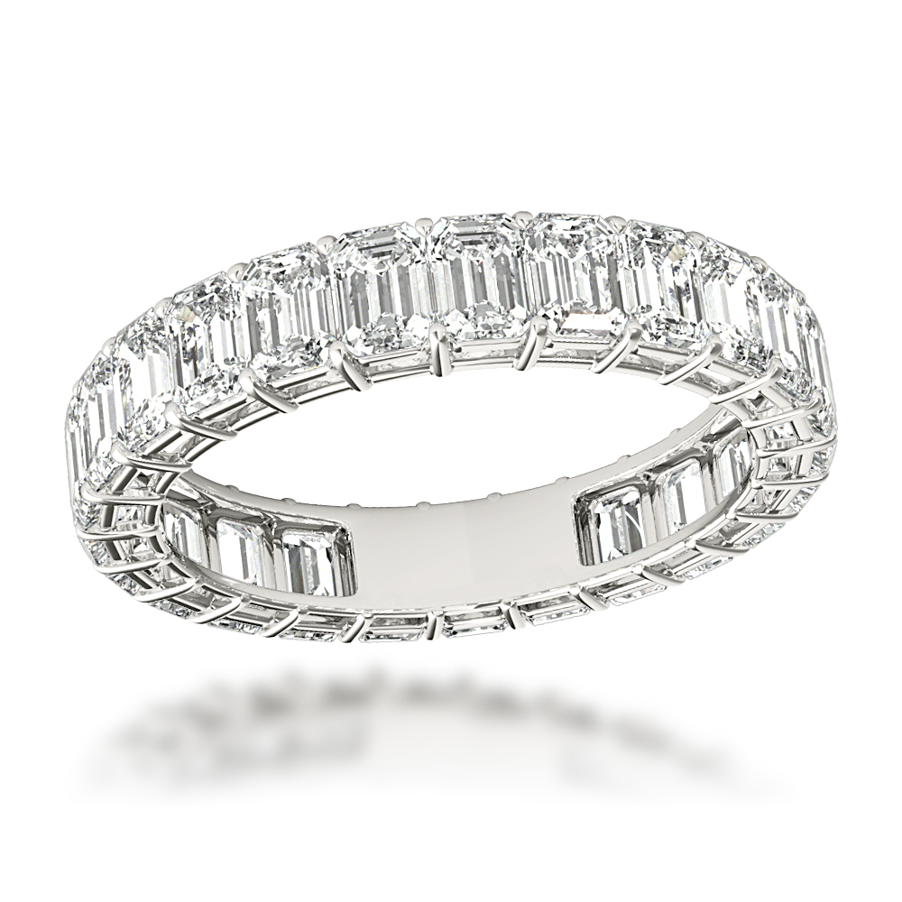 Platinum Emerald Cut Diamond Eternity Band for Women 4ct Anniversary Ring