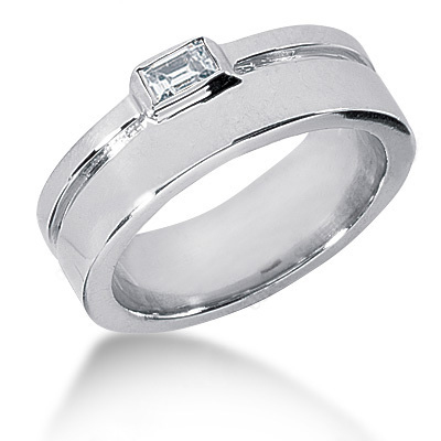 Platinum Emerald Cut Diamond Men's Wedding Ring 0.33ct Platinum Emerald Cut Diamond Men's Wedding Ring 0.33ct