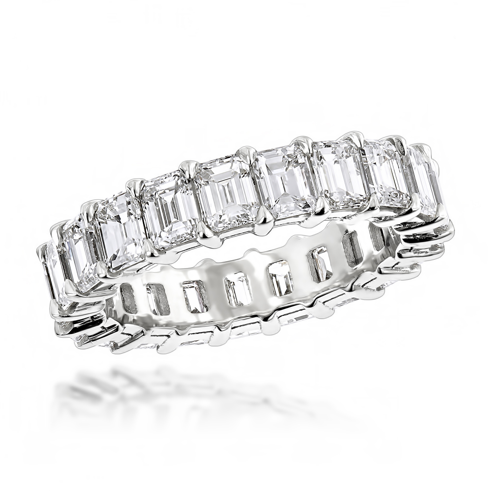 Platinum Emerald Diamond Eternity Band 6.64ct VS Diamond Anniversary Ring Main Image