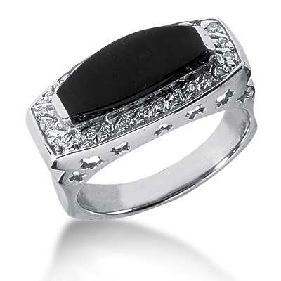 Platinum Ladies Black Onyx Ring 0.26ct Main Image