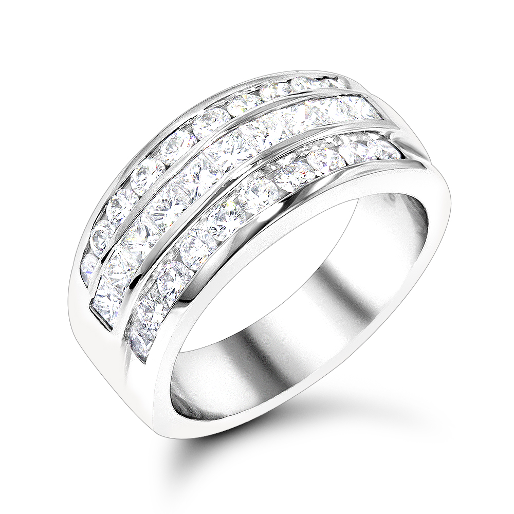 Platinum Ladies Diamond Ring 2 Carat Round & Princess Diamonds Band White Image