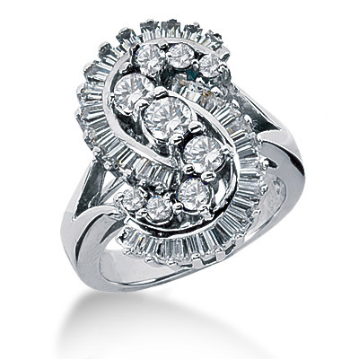 Platinum Ladies Diamond Ring 2ct Main Image