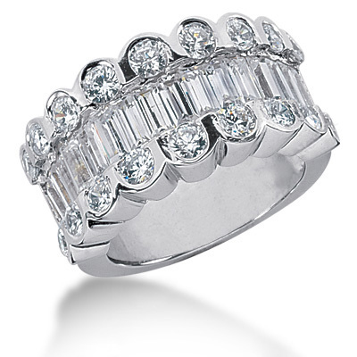 Platinum Ladies Diamond Ring 3.20ct 12.3mm Main Image