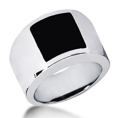 Platinum Men's Black Onyx Ring Main Image