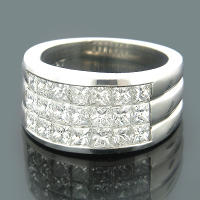 Platinum Mens Diamond Pinky Ring Princess Diamonds 3.52 Main Image