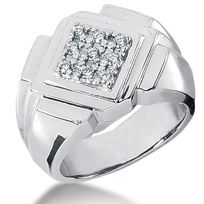 Platinum Men's Diamond Ring 0.27ct 14.5mm Main Image