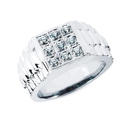 Platinum Men's Diamond Ring 0.45ct Main Image