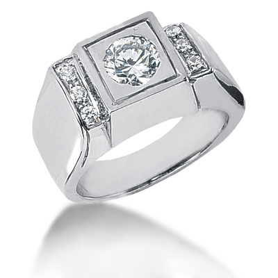 Platinum Men's Diamond Ring 0.87ct Main Image