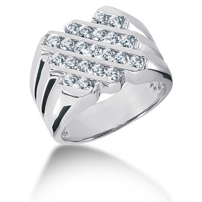 Platinum Men's Diamond Ring 1.05ct