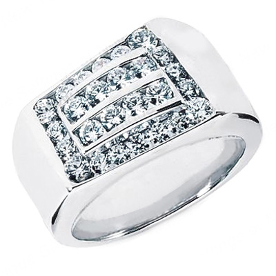 Platinum Men's Diamond Ring 1.32ct