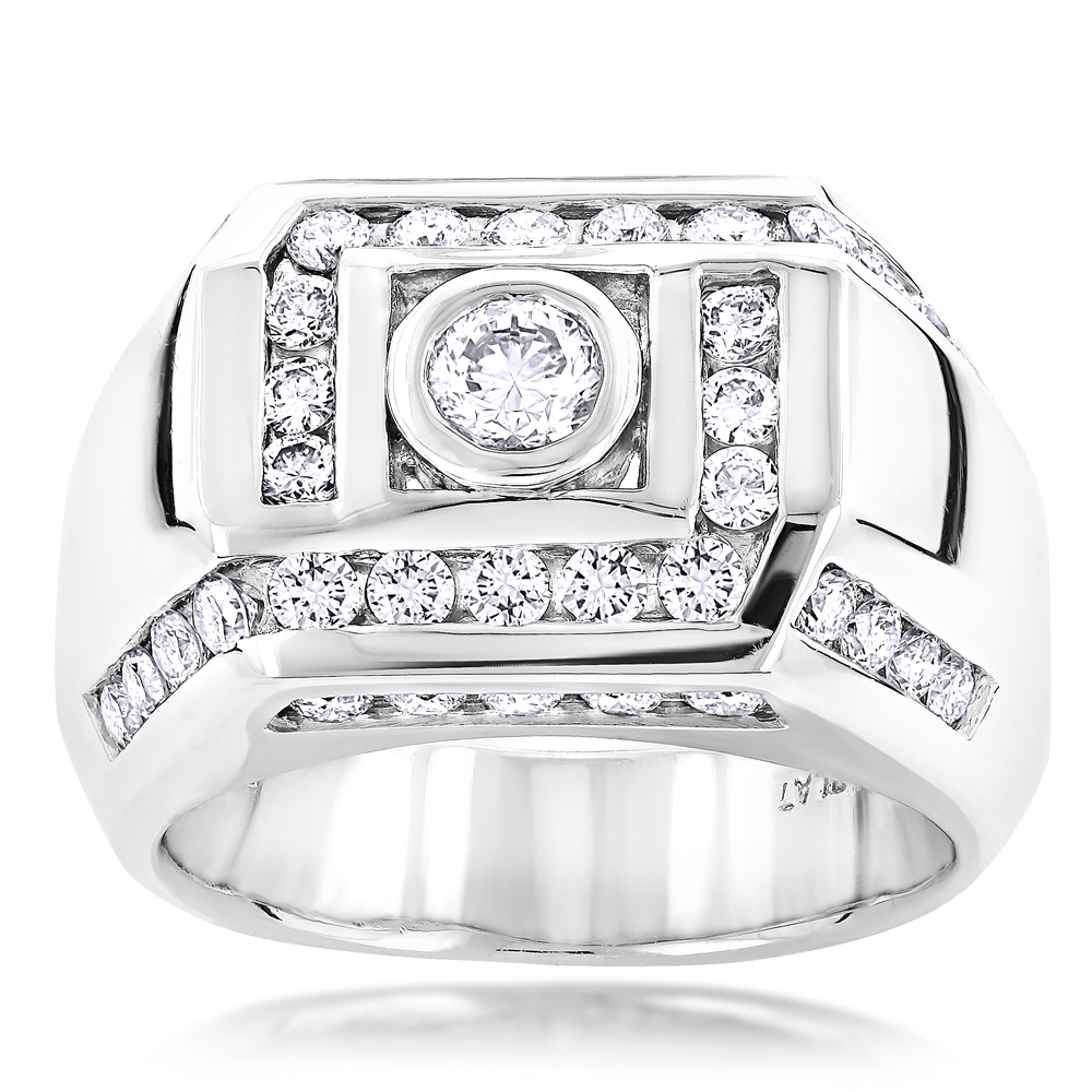 2 Carat Platinum Mens Diamond Ring by Luxurman Main Image