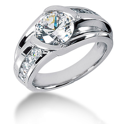 Platinum Mens 3 Carat Solitaire G/VS Diamond Ring Main Image