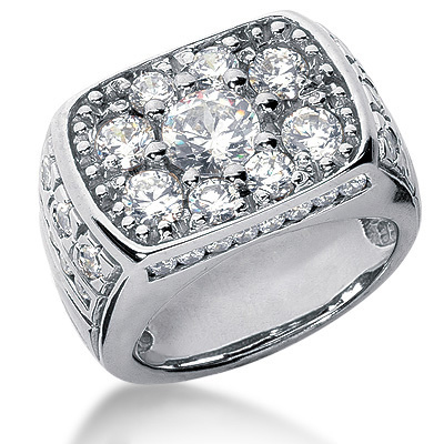 Platinum Men's Diamond Ring 3.42ct Platinum Men's Diamond Ring 3.42ct