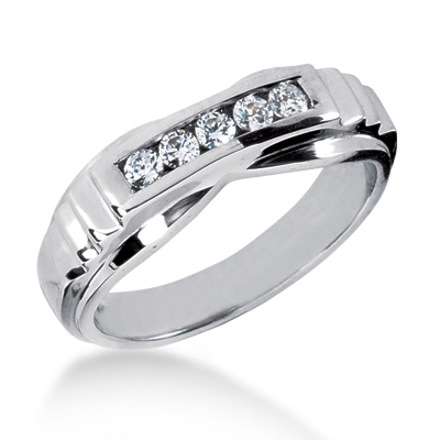 Platinum Men's Diamond Wedding Band 0.25ct