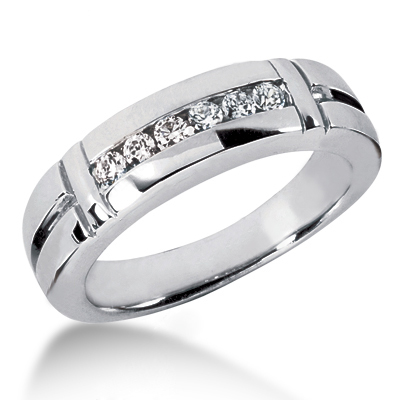 Platinum Men's Diamond Wedding Band 0.28ct Main Image