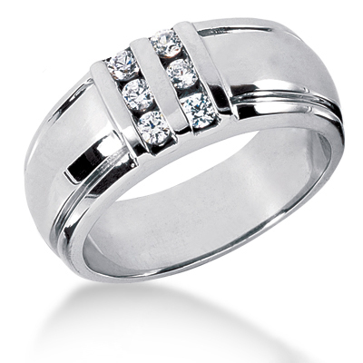 Platinum Men's Diamond Wedding Band 0.30ct Main Image