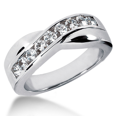 Platinum Men's Diamond Wedding Band 0.90ct