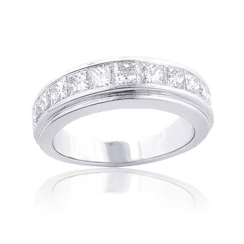 Platinum Mens Diamond Wedding Band 3.6ct Princess Cut Diamonds