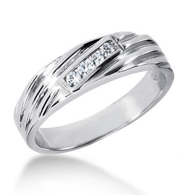 Platinum Men's Diamond Wedding Ring 0.12ct