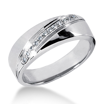 Platinum Men's Diamond Wedding Ring 0.12ct Platinum Men's Diamond Wedding Ring 0.12ct