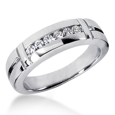 Platinum Men's Diamond Wedding Ring 0.28ct 6.4mm Main Image