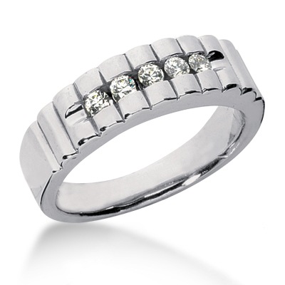 Platinum Men's Diamond Wedding Ring 0.35ct
