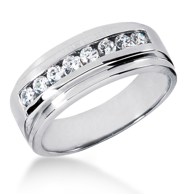 Platinum Men's Diamond Wedding Ring 0.48ct Main Image