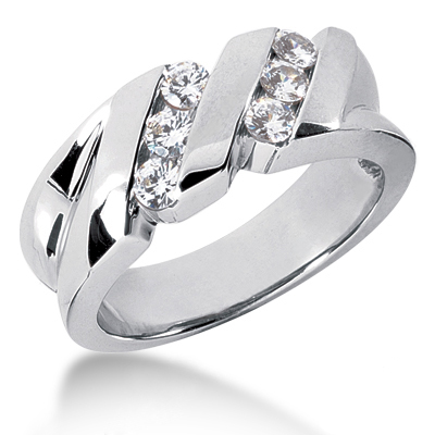 Platinum Men's Diamond Wedding Ring 0.60ct Main Image
