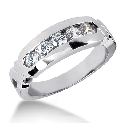 Platinum Men's Diamond Wedding Ring 0.75ct Main Image