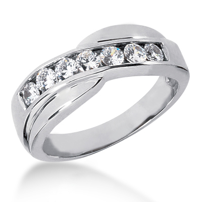 Platinum Men's Diamond Wedding Ring 0.84ct Main Image