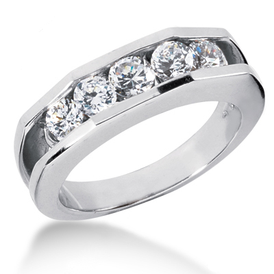 Platinum Men's Diamond Wedding Ring 1.20ct Main Image