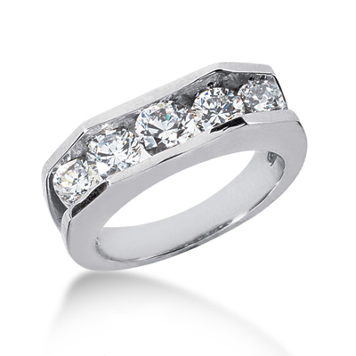 5 Stone Platinum Mens Diamond Wedding Ring 2.45ct Main Image