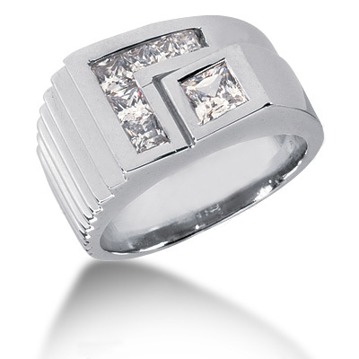 Platinum Men's Princess Diamonds Ring 0.97ct Platinum Men's Princess Diamonds Ring 0.97ct